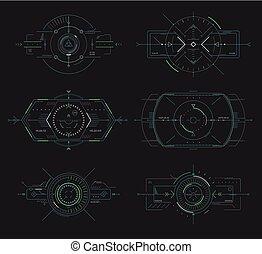 hud, éléments, contrôle, navigation, exposer, futuriste, panneau