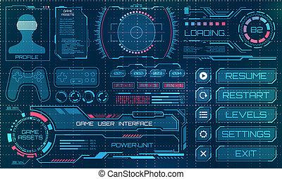 hud, éléments, infographic, gui, utilisateur, panneau, futuriste, interface