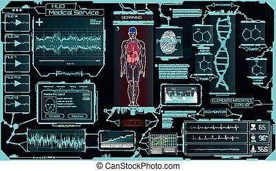 hud, éléments, monde médical, science., ui, interface