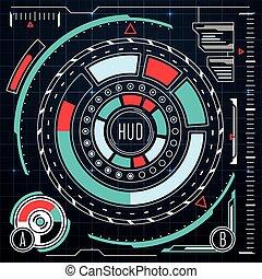 hud, éléments, moniteur, set., virtuel, interface, vecteur, ui, utilisateur, écran tactile, futuriste