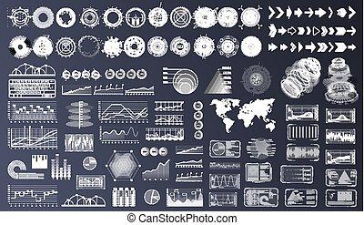 hud, éléments, set., ui, interface utilisateur, ux, futuriste