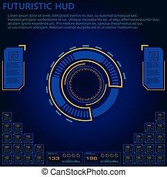 hud, インターフェイス, sci, 抽象的, set., 現代, ユーザー, 未来派, fi
