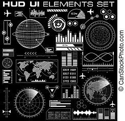 hud, グラフィック, セット, ユーザインタフェース, 未来派