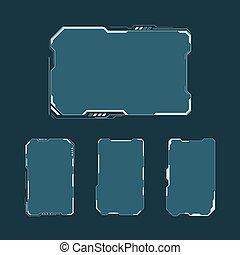 hud, 制御, 要素, レイアウト, set., スクリーン, パネル, 未来派, イラスト, ディスプレイ, ベクトル, 技術, 事実上, インターフェイス, fi, design., 抽象的, sci, ユーザー