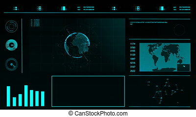 HUD. Abstract digital futuristic interface on a dark background with a world map, graphs, holographic planet.