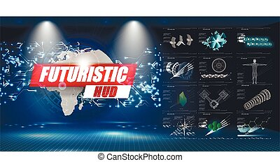 hud, abstract., graphique, science, résumé, virtuel, ui., vecteur, utilisateur, interface., toucher, infographic.