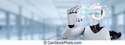 hud, ai, humanoid, begriff, schirm, denken, hologramm, gehirn, halten, roboter