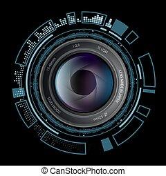 hud, appareil-photo photo, lentille, interface.