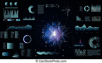 hud, balayage, éléments, aimer, graphique, virtuel, ou, conception, infographic, tableau bord, interface, vagues, exposer, futuriste, sci-fi