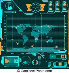 hud, carte, écran, navigation, elements.