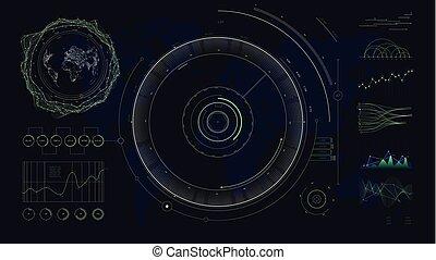hud, carte, réseau, graphiques, diagrammes, communications globales, vecteur, conception, utilisateur, numérique, interface, mondiale, futuriste
