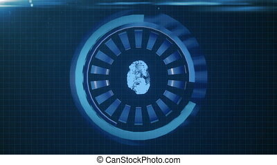 HUD circle interface with different glowing blue elements. loop
