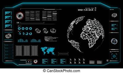 hud, concept, globe, cyber, sombre, animation, grain, traité, fond, mondiale, interface, en mouvement, utilisateur, futuriste, 4k