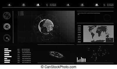 hud, concept, plexus., interactif, écran, virtuel, toucher, avenir, graphiques, mondiale, interface, carte, illustrations, hologramme, utilisateur