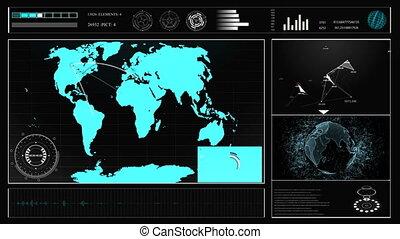 hud, concept, plexus., virtuel, toucher, avenir, graphiques, mondiale, interface, carte, hologramme, utilisateur