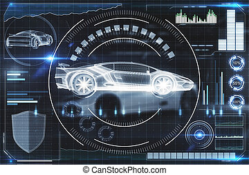 hud, concept, transport, intelligence artificielle