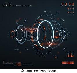 hud, contrôle, diagrams., technologie, écran, numérique, virtuel, infographic, diagramme, vecteur, interface., conceptuel, avenir, panneaux, futuriste