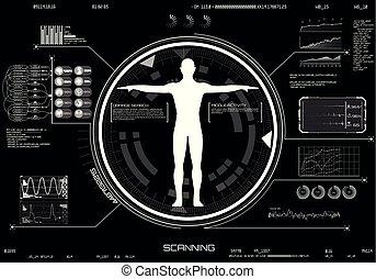 hud, corps, concept, balayage, monde médical, ui., infographic