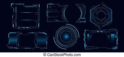 hud, cyber, technologie, vecteur, interface, futuriste, plat, hologramme, tableau bord, illustration., ensemble, salut, panneau