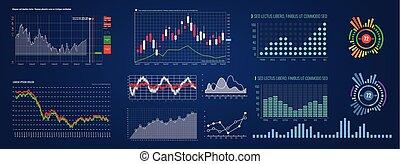 hud, différent, ensemble, réseau, intelligent, écran, diagramme, illustré, diagram., vector., interface., gestion, technologie, données