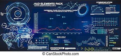 hud, données, ensemble, extérieur, elements., information, charts., infographic., space., graphiques, infographic, fond, statistique
