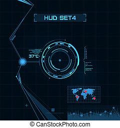 hud, e, gui, set., futurista, usuário, interface.
