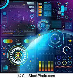 hud, ensemble, barre, interfacial, interface, écran, illustration, vaisseau spatial, interfaced, vecteur, tableau bord, spacepanel, numérique, interface, technologie, hologramme, futuriste
