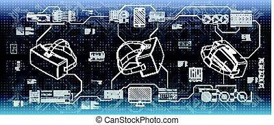 hud, ensemble, infographic, app, web., glasses., réalité, mouvement, éléments, ui, virtuel, interface, head-up, utilisateur, exposer, futuriste, design.