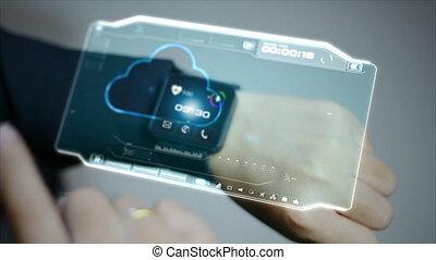 hud, femme, barre, business, graphique, utilisateur, montre, cyber, concept, 4k, interface, utilisation, pi, technologie, futuriste, intelligent
