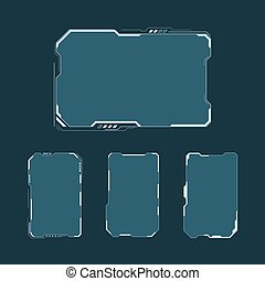 HUD futuristic user interface screen elements set. Abstract...