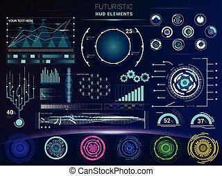 hud, futuristicwith, ensemble, barre, interfacial, interface, écran, illustration, vaisseau spatial, interfaced, vecteur, tableau bord, spacepanel, numérique, interface, technologie, hologramme