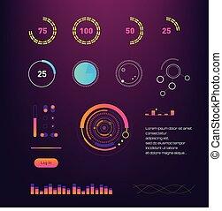 hud, gestion, diagrams., coloré, technologie, données, écran, interface., diagrammes, vecteur, infographic, numérique, interface, illustration., intelligent, réseau