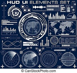 hud, graphique, ensemble, interface utilisateur, futuriste