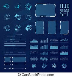 hud, graphique, pannels., collection., résumé, futuriste, vecteur, ensemble, illustration, éléments