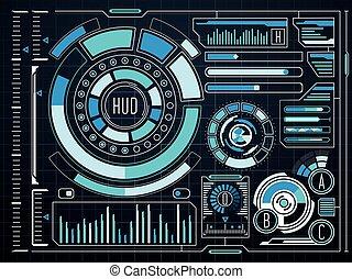 hud, graphique, sci-fi, virtuel, toucher, interface utilisateur, futuriste
