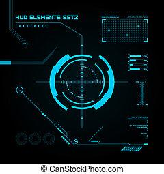 hud, gui, felhasználó, interface., set., futuristic