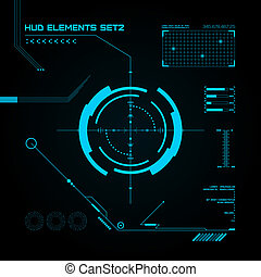 hud, gui, usuario, interface., set., futurista
