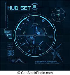 hud, gui, utilisateur, interface., set., futuriste