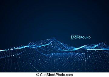 hud, illustration., element., résumé, néon, futuriste, cyber, vague, arrière-plan., incandescent, vecteur, virtuel, numérique, particles., technologie, paysage, 3d