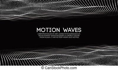 hud, illustration., résumé, particles., arrière-plan., incandescent, vecteur, futuriste, numérique, vague, technologie, concept., element., 3d