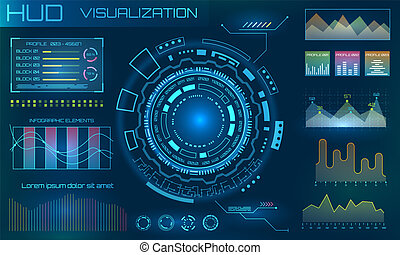 hud, information, elements., visualisation, infographic, conception, interface, technologie, ou, futuriste
