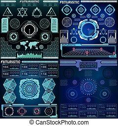 hud, interface, ensemble, panneau commande, illustration., résumé, hologramme, vector., virtuel, éléments, utilisateur, futuriste, graphique