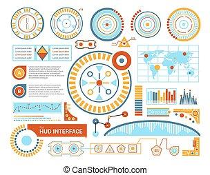 hud, interface, ilustração, apartamento