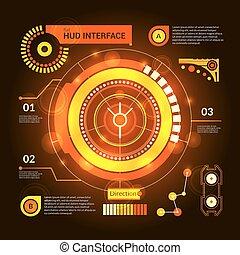 Orange virtual game hud interface template on dark background vector illustration