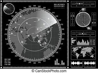 hud., interfejs, ekran, futurystyczny, użytkownik, radar