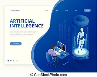 hud, isométrique, concept., intelligence., robot, virtuel, artificiel, avenir, cybernétique, interface, travaux, organisme, reality., augmented