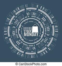 hud, lundi, vente, cyber, arrière-plan., circuit, bannière