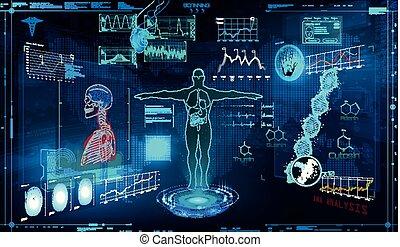 hud, monde médical, éléments, examen, ensemble