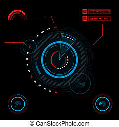 hud, pantalla, tacto, interfaz de usuario, futurista