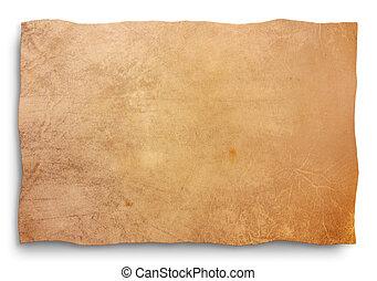 hud, pergament, -, udklip sti